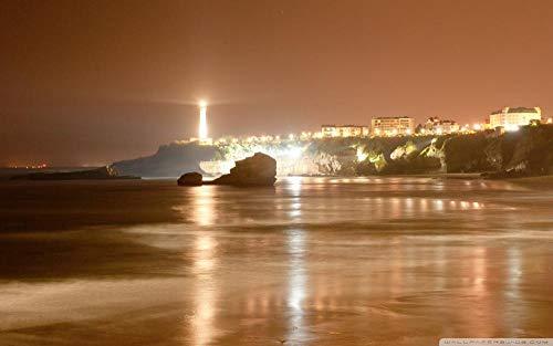 OKOUNOKO Numero Pinturas Set, Vista Nocturna De Biarritz, Faro, Edificio, Gran Regalo Educativo Para Niños, Decoración Del Hogar, Sin Marco 40X50 Cm