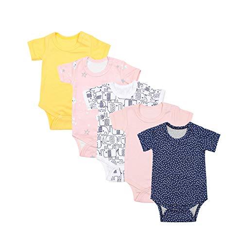 TupTam Mädchen Baby Body Kurzarm in Unifarben - 5er Pack, Farbe: Farbenmix 5, Größe: 56
