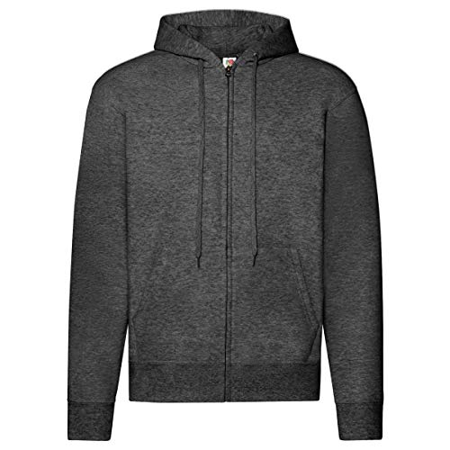 Fruit of the Loom Classic Hooded Sweat Jacket, Größe:L, Farbe:dunkelgrau meliert