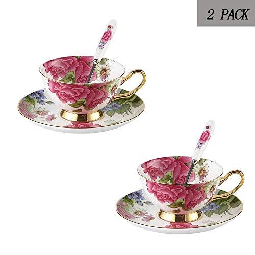 XINYU Tea Cup Set, Bone China Kaffeetasse Set mit Untertasse, Rosa Rosen-Muster europäischen Nachmittag Teetasse for Hochzeit Haushalt Geschenk Büro Wohnzimmer (Color : 2PACK)