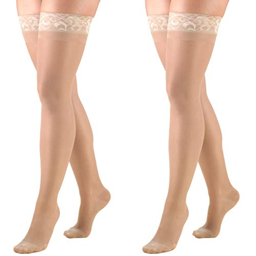 Truform Compression 15-20 mmHg Sheer Thigh High Stocking Nude, Medium, 2 Count
