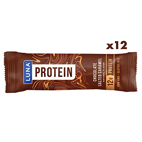 Luna Protein - Gluten Free Protein Bars - Chocolate Salted Caramel Flavor - (1.59 Ounce Snack Bars, 12 Count)
