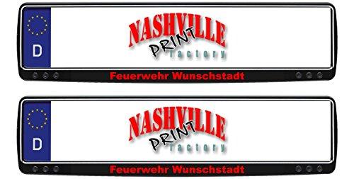 Nashville print factory 1 Paar Kennzeichenhalter schwarz mit Feuerwehr und Stadt nach Wunsch bedruckt