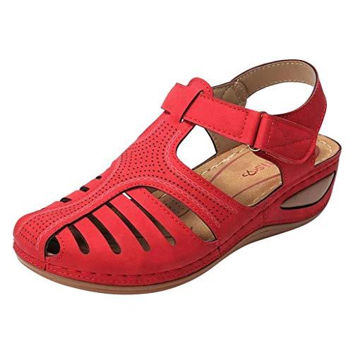 Fannyfuny 2019 Europa und Amerika Vintage Sandalen Damen Flache Sandalen Casual rutschfest Sandalen Komfortabel Hollow Atmungsaktiv Sandalen Outdoor Schuhe für Sport Freizeit Laufschuhe Sportschuhe