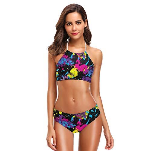 SUGARHE Damen Badebekleidung,Tarnmuster Hintergrund Nahtlose Vektor Illustration,Mädchen Bikini Set Split(XXL)