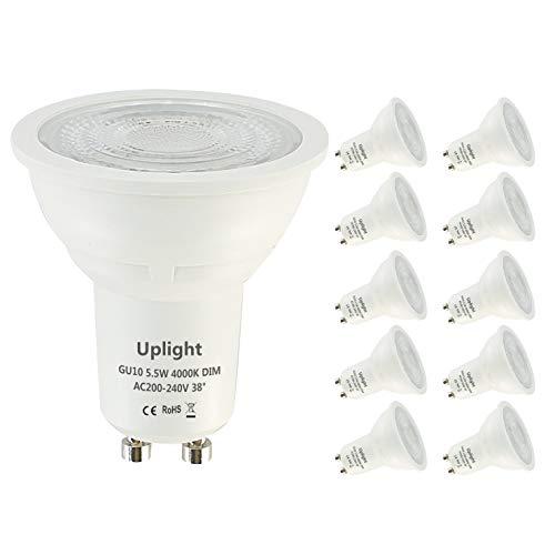 Uplight 5.5W Dimmbar GU10 LED Lampe Naturweiß 4000K,Ersetzt 50W Halogen Lampe 470lm Ra80 38°Strahlwinkel,LED Birnen,LED Leuchtmittel,10er Pack.