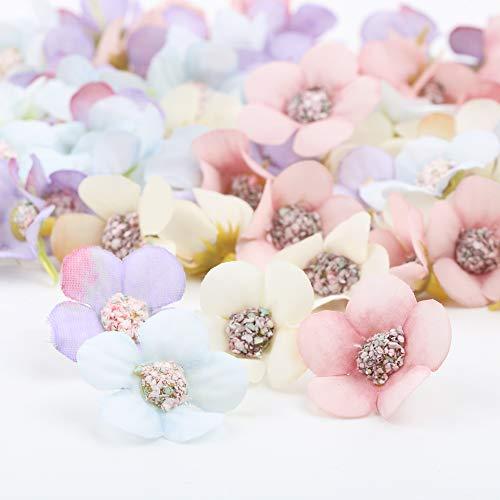 VINFUTUR 80 Stücke Künstliche Blumen Gänseblümchen Blütenköpfe Kunstblumen Blumenköpfe Bunt Mini Seidenblumen für Basteln Scrapbooking Hochzeit Party Home Deko - Zufällige Farbe