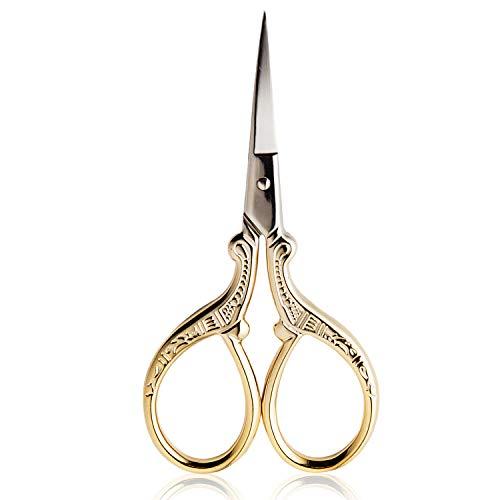 BIHRTC 3.6 Inch Embroidery Scissors Small Sewing Scissors Stainless Steel Tip Classic Scissors DIY Tools Dressmaker Shears Scissors for Craft Needlework Artwork Everyday Use Gold Scissors