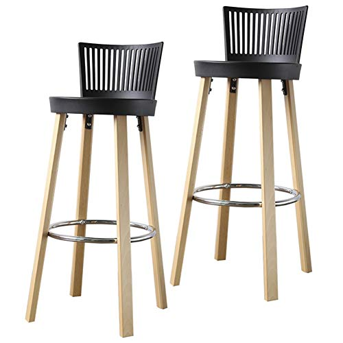 LSXIAO Set Of 2 Pcs Bar Stool, Kitchen Breakfast Counter Chair High Stool With Backrest Metal Pedal Non-slip Mat Living Room And Counter, 3 Colors (Color : Black, Size : 41x39x97cm)