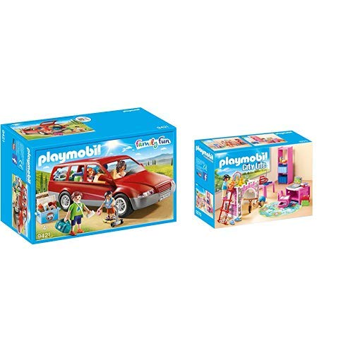 Playmobil 9421 - Familien-PKW Spiel & 9270 - Fröhliches Kinderzimmer