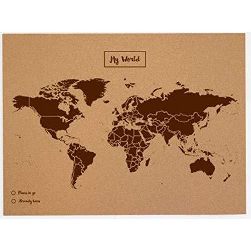 Miss Wood Map L, Mappa del mondo di Sughero, 45 x 60 cm, Naturale/Marrone