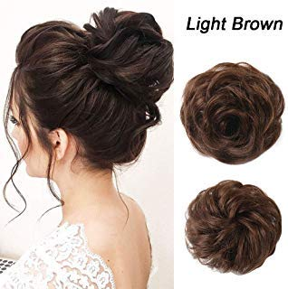 Human Hair Bun Extensions Messy Hair Scrunchies Hair Pieces for Women Hair Donut Updo Ponytail