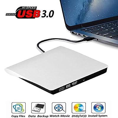 External DVD Drive, USB 3.0 Portable CD/DVD+/-RW Drive/DVD Player for Laptop CD ROM Burner Compatible with Laptop Desktop PC Windows Linux OS Apple Mac White