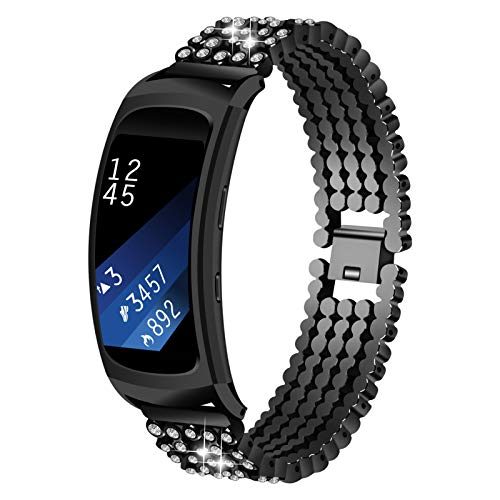 Correa de Reloj para Gear Fit 2, Miya System Ltd Bling Jewelry Pulsera Bandas de Reloj de Acero Inoxidable Brazalete para Samsung Gear Fit 2 SM-R360 / Gear Fit 2 Pro SM-R365 (Negro)