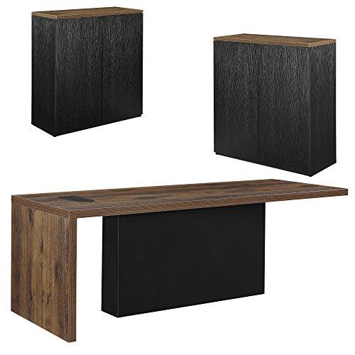 [neu.haus] Chef-Schreibtisch mit 2 Aktenschränken Regal schwarz Sideboard Eiche Büromöbel-Kombination