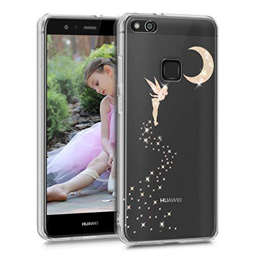 kwmobile Cover Compatibile con Huawei P10 Lite - Back Case Custodia Posteriore in Silicone TPU per Smartphone - Backcover Fata alata Oro Rosa/Trasparente