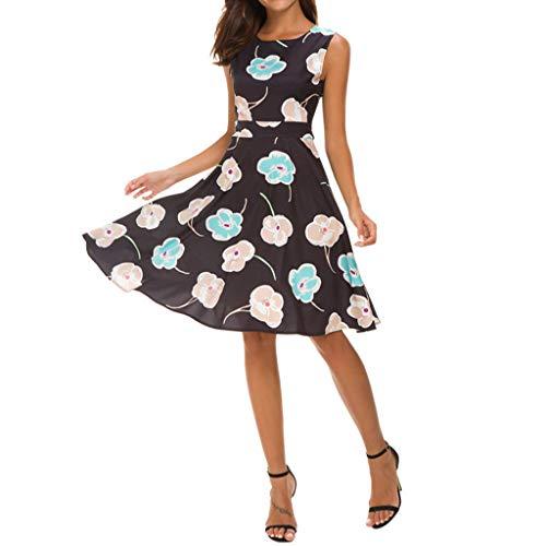 URIBAKY Damen Schöne Elegant Vintage Blumendruck Cocktailkleider Rockabilly Kleider,Retro Swing Kleider Kurz,Hepburn Partykleider