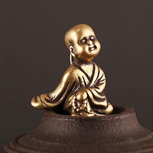JYKFJ Cobre Puro pequeño Monje llaveros Colgantes de latón Vintage Estatua de Buda llaveros Anillos joyería Colgante Hombres llaveros de Coche Regalos