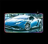ゲームマウスパッドクールブルースポーツカーゲームRgbマウスパッドキーボードパッドアニメデスクマットLed照明ゲームマウスパッド700*300 MM
