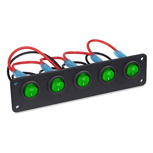 LHaoFY Accesorios para interruptores A prueba de agua 5 Pandillas On-off Botton Toggle Rocker Interruptor Panel Interruptores de circuitos Marino Barco LED Cambio de interruptor Coche 12V 24V