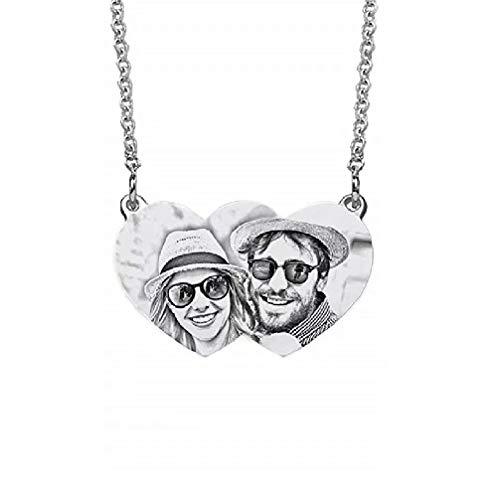 Not applicable Collar de Fotos Personalizado Collar de medallón con Colgante de Foto Personalizado de Plata esterlina Grabado con Nombre o Cadena de Mensaje Joyas para Mujeres - Caja