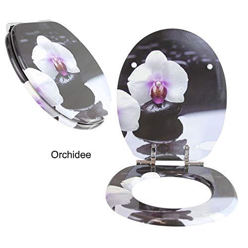Toilettensitz WC-Sitz mit Absenkautomatik und verzinkten Scharnieren - Klobrille Klodeckel Toilettendeckel aus MDF (Orchidee)
