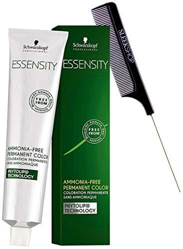 Schwarzköpf ESSENSITY Ammonia-Free Permanent Hair Color Dye (w/Sleek Comb) Phytolipid Technology Haircolor (1-0 Black)