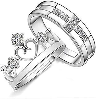 خاتم مجوهرات عتيق للأزواج فتحات خاتم تاج بسيطة للرجال والنساء الإصدار الكوري