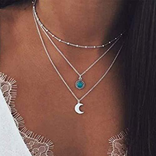 Branets Collana con ciondolo a strati Boho Collane con luna d'argento Catena Gioielli in turchese per donne e ragazze