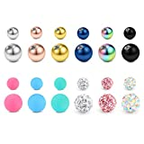 JFORYOU Replacement Balls for Body Jewelry Piercing 24PCS 14G 5mm 8mm Stainless Steel and Acrylic Replacement Balls Barbell Parts for Belly Button Rings Nipple Rings Tongue Rings Industrial Barbell