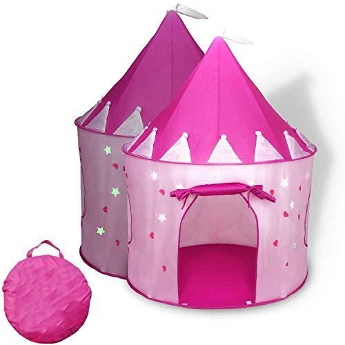 YUEHAPPY Tienda de Princesa para Niñas Pop Up Carpa Plegable para Niños Carpa Rosa con Bolsa de Transporte de Cadena para Interiores y Exteriores