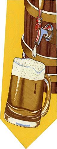 Barril de cerveza en la nueva corbata amarilla de la novedad corbata