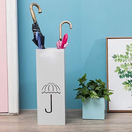 YYHSND Kreative Schmiedeeisen-Schirmständer Haushaltsschirm Eimer Flacher Regenschirmlagergestell, Schwarzweiss 20 * 20 * 55cm Regenschirmständer (Farbe : Weiß)