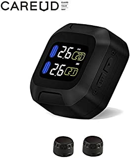 CAREUD Motorcycle Tire Pressure Monitoring System Wireless Motorcycle TPMS Tires Motor Auto Tyre Alarm System Waterproof with 2 External Sensors for Two-Wheeled Motorcycle(Sensor 18x13)