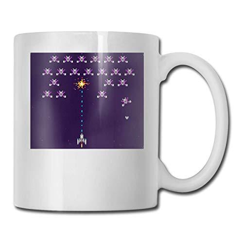 Taza Gamer Space Invaders Tazas 11OZ Diseño impreso Taza de café divertida Tee Cup