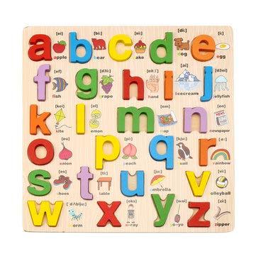 DyNamic 1 Set Houten Puzzel Handgreep Speelgoed Alfabet Letters Cijfers Peuter Kinderen Vroeg Leren Speelgoed Cadeau - C