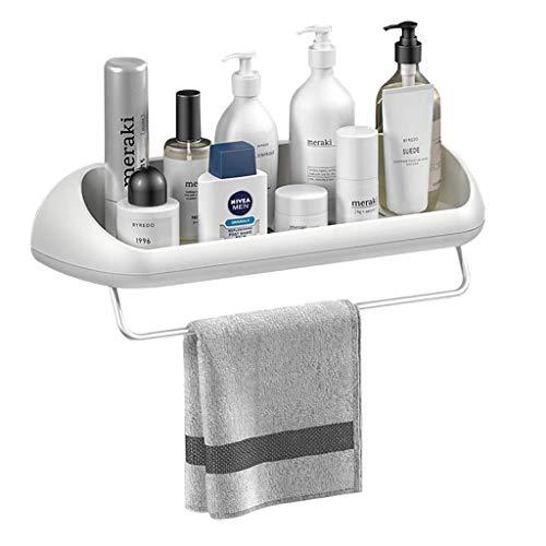 ZXF Estante de plástico para carrito de ducha, soporte de pared para carrito de ducha con barra de toalla, estante de habitación autoadhesivo sin perforaciones Canasta de almacenamiento de cocina, bla