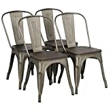 Yaheetech 4x Esszimmerstuhl Wohnzimmerstuhl Stuhlgruppe aus Metall Küchenstuhl Sitzfläche aus Holz Wohnmöbel