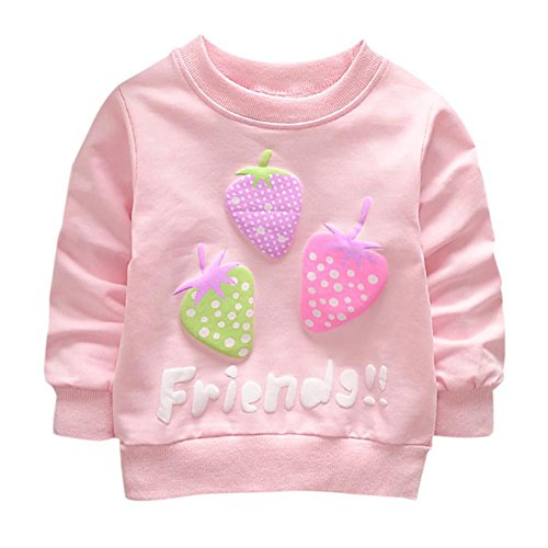 Qlan Baby Girl Jumper Pull Sweat, Manches Longues T Shirt Neck Jacket (0-3 Ans)