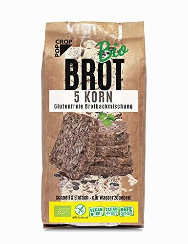 POPCROP Bio BACKMICHUNG 5 KORN 2 x 450g Pack für 1,5kg Brot | Vegan Gluten-Frei Hefe-Frei Lactose-Frei | Schnellbrot – Nur Wasser Zugeben | Fitness | Nur Beste Natürliche Zutaten | Clean-Eating
