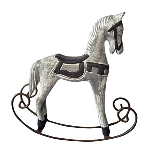 SUPVOX Cavallo in Legno retrò Ornamento Cavallo figurina Cavallo a Dondolo scrivania Decorazione Equilibrio Arte Figura Decorazione Home Office