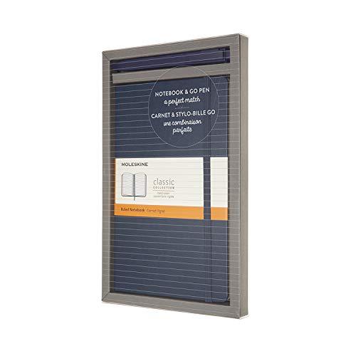 Moleskine Bundle Vertical Notebook Classic Pagina a Righe e Penna Go, Taccuino Copertina Rigida e Chiusura ad Elastico, Dimensione Large 13 x 21 cm, 192 Pagine, Blu Zaffiro