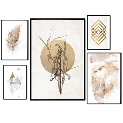 decomonkey | Poster 5er – Set schwarz-weiß Abstrakt Kunstdruck Wandbild Print Bilder Bilderrahmen Kunstposter Wandposter Posterset