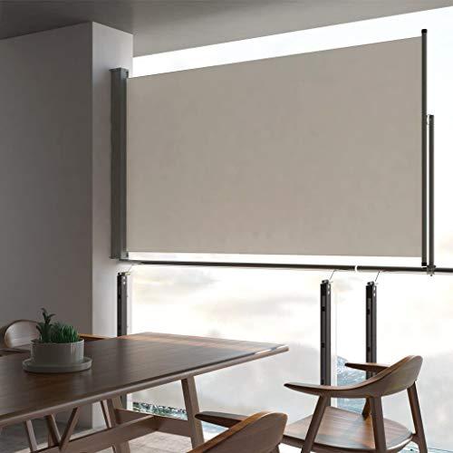 Festnight Ausziehbare Seitenmarkise Seitenwandmarkise für Balkon und Terrasse Sichtschutz Sonnenschutz Seitenrollo 140 x 300 cm Creme