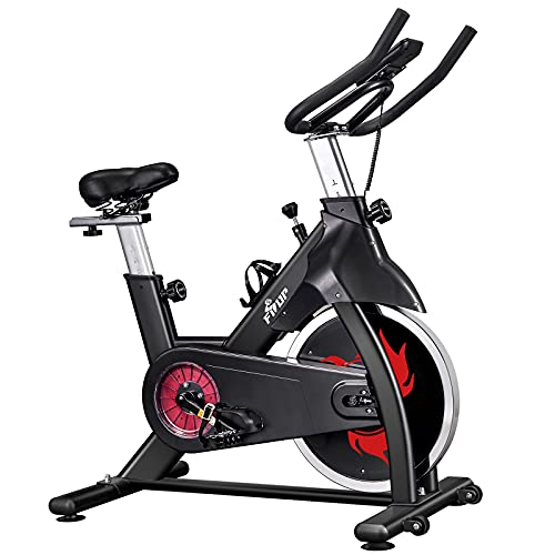 FISUP Exercise Bike Stationary Bike Cardio Bike for Home Gym Indoor Cycling Bike with Belt Drive System and LCD Monitor, 28 LBS Flywheel, 440 LBS Capacity