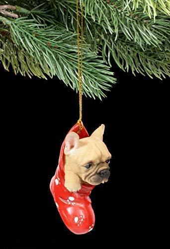 Figuren Shop GmbH Christbaumschmuck Hund - Französische Bulldogge | Dekoartikel Zum Hängen, Handbemalt