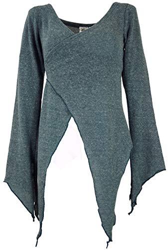 Guru-Shop Wickel-Strickjacke, Pixi Wickeljacke, Damen, Taubenblau, Baumwolle, Size:S/M (36), Jacken, Mäntel & Ponchos Alternative Bekleidung