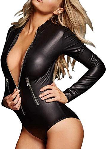 AZBYC Mujeres De Cuero Traje Ajustado Traje De Lencería Cuero De La Laca Sexy De Los Catwoman Látex Catsuit Vestido De Mono De Mono Vestido De Clubwear,L