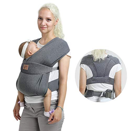 Vrbabies Ergonomic Baby Carrier for Newborns to Toddlers, Skin-Friendly and Soft Front Baby Carrier Wrap, Easy Breastfeeding, Lightweight and Breathable, Perfect Baby Shower Gifts (Grey)