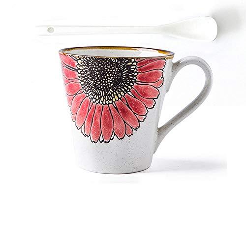 HUANGHHLL Sun Flower Creative Western Style Cinturón De Cerámica Simple Café Pareja Leche Desayuno Taza De Agua Mug-6